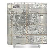 1866 Fornari Pocket Map Or Case Map Of Rome Italy Shower Curtain