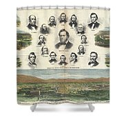 1866 Harpers Weekly View Of Salt Lake City Utah W Brigham Young Mormons Shower Curtain