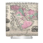 1866 Johnson Map Of Arabia Persia Turkey And Afghanistan Iraq Shower Curtain