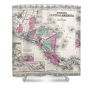 1866 Johnson Map Of Central America Shower Curtain