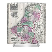 1866 Johnson Map Of Holland And Belgium Shower Curtain