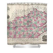 1866 Johnson Map Of Kentucky And Tennessee  Shower Curtain