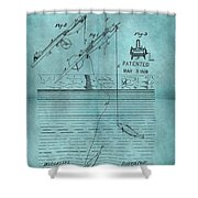 1868 Fishing Tackle Patent Blue Shower Curtain