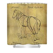 1868 Horse Harness Patent Shower Curtain
