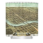1869 Map Of Kankakee Shower Curtain