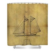 1869 Sailing Ship Patent Shower Curtain