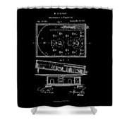 1871 Bagatelles Patent Drawing Shower Curtain