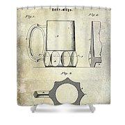 1873 Beer Mug Patent Shower Curtain