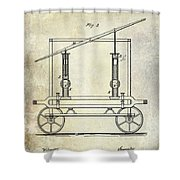 1875 Fire Extinguisher Patent Shower Curtain