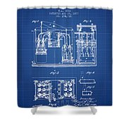 1877 Bottling Machine Patent - Blueprint Shower Curtain