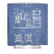 1877 Bottling Machine Patent - Light Blue Shower Curtain