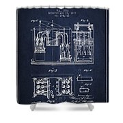 1877 Bottling Machine Patent - Navy Blue Shower Curtain
