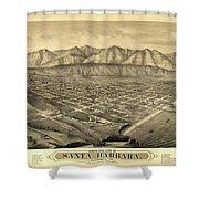 1877 Santa Barbara California Map Shower Curtain