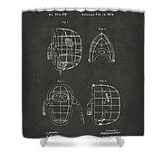 1878 Baseball Catchers Mask Patent - Gray Shower Curtain by Nikki Marie Smith