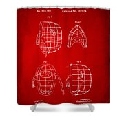 1878 Baseball Catchers Mask Patent - Red Shower Curtain by Nikki Marie Smith
