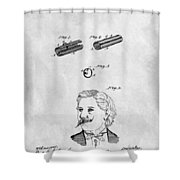 1879 Mustache Guard Patent Shower Curtain