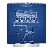1884 Bottling Machine Patent - Blueprint Shower Curtain