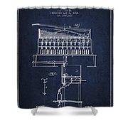 1884 Bottling Machine Patent - Navy Blue Shower Curtain