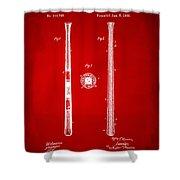 1885 Baseball Bat Patent Artwork - Red Shower Curtain