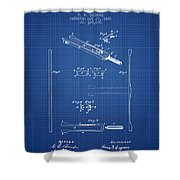 1885 Tuning Fork Patent - Blueprint Shower Curtain