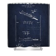 1885 Tuning Fork Patent - Navy Blue Shower Curtain