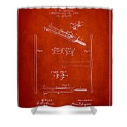 1885 Tuning Fork Patent - Red Shower Curtain