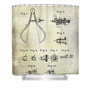 1886 Caliper And Dividers Patent Shower Curtain