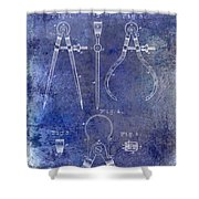 1886 Calipers Patent Blue Shower Curtain