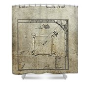 1887 Baseball Game Patent Shower Curtain