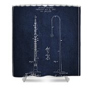 1887 Metronome Patent - Navy Blue Shower Curtain