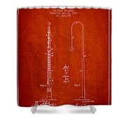 1887 Metronome Patent - Red Shower Curtain