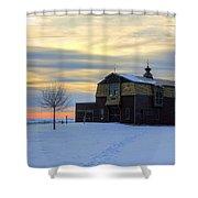 1888 Barn In Winter 02 Shower Curtain