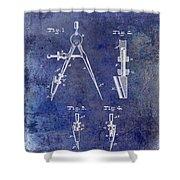 1888 Draftsmans Compass Patent Blue Shower Curtain