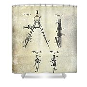 1888 Draftsmans Compass Patent  Shower Curtain