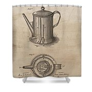 1889 Coffee Pot Patent Illustration Shower Curtain