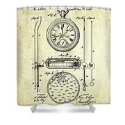 1889 Stop Watch Patent Art S. 1 Shower Curtain