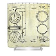 1889 Stop Watch Patent Art Sheets 1-2 Shower Curtain