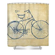 1890 Bicycle Patent Minimal - Vintage Shower Curtain