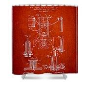 1890 Bottling Machine Patent - Red Shower Curtain