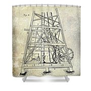 1893 Oil Well Rig Patent Shower Curtain