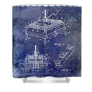 1894 Wine Press Patent Blue Shower Curtain