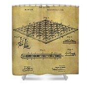 1896 Chess Set Patent Shower Curtain