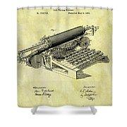 1896 Typewriter Patent Shower Curtain