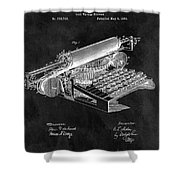 1896 Typewriter Patent Illustration Shower Curtain