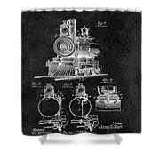 1898 Locomotive Headlight Patent Shower Curtain