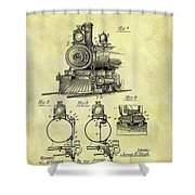1898 Locomotive Patent Shower Curtain