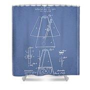 1899 Metronome Patent - Light Blue Shower Curtain