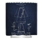 1899 Metronome Patent - Navy Blue Shower Curtain