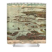 1899 View Map Of Boston Harbor From Boston To Cape Cod And Provincetown  Shower Curtain