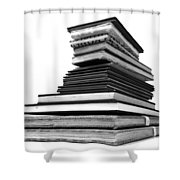 1.8.stack-of-sketch-books Shower Curtain